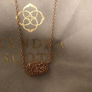 Kendra Scott Rose Gold Drusy Elisa Necklace NEW